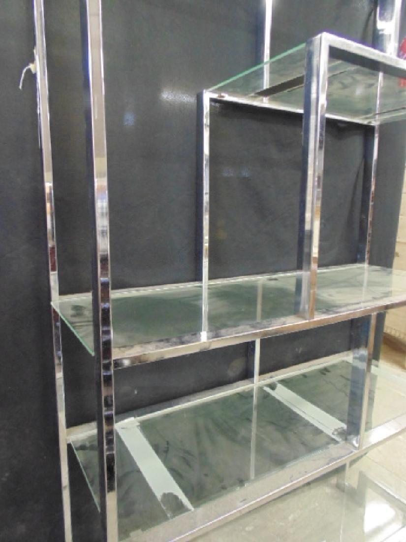 Chrome etagere, glass shelves - 4
