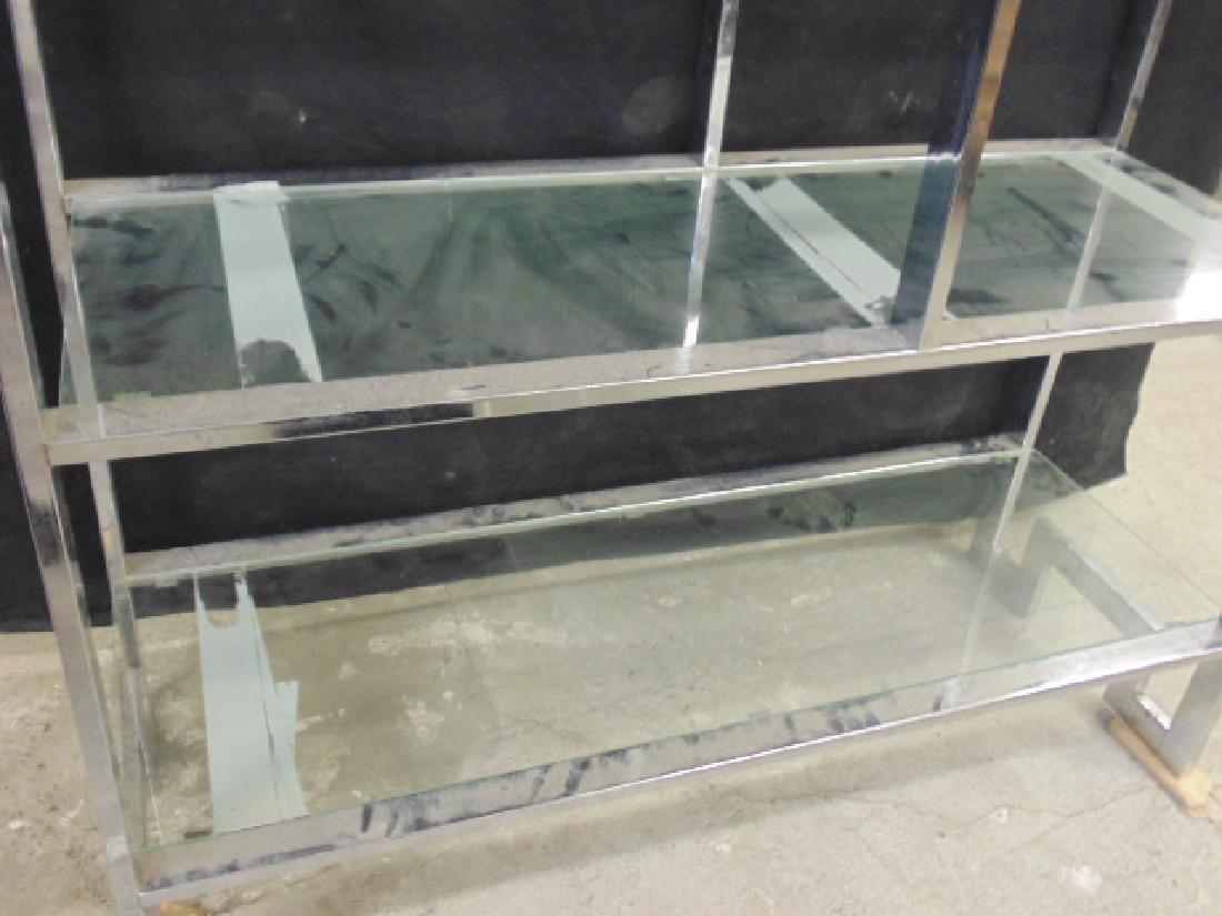 Chrome etagere, glass shelves - 5