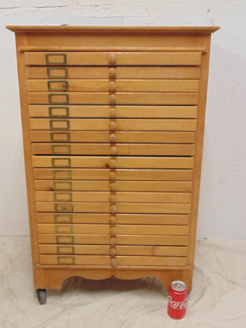 Maple file, specimen cabinet, cabinet has 18 drawers