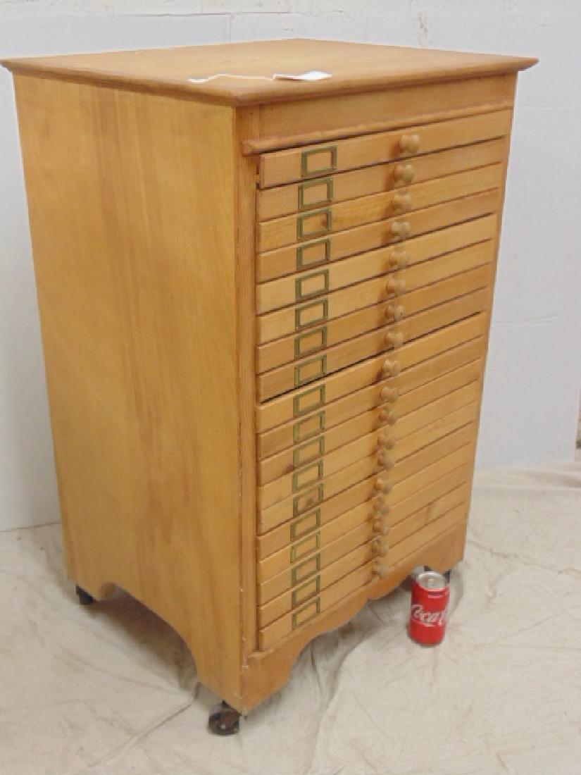 Maple file, specimen cabinet, cabinet has 18 drawers - 2