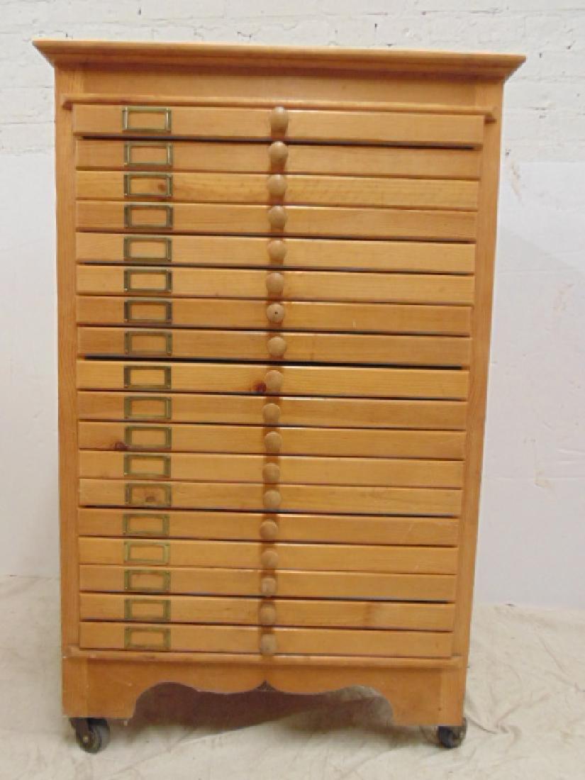 Maple file, specimen cabinet, cabinet has 18 drawers - 5