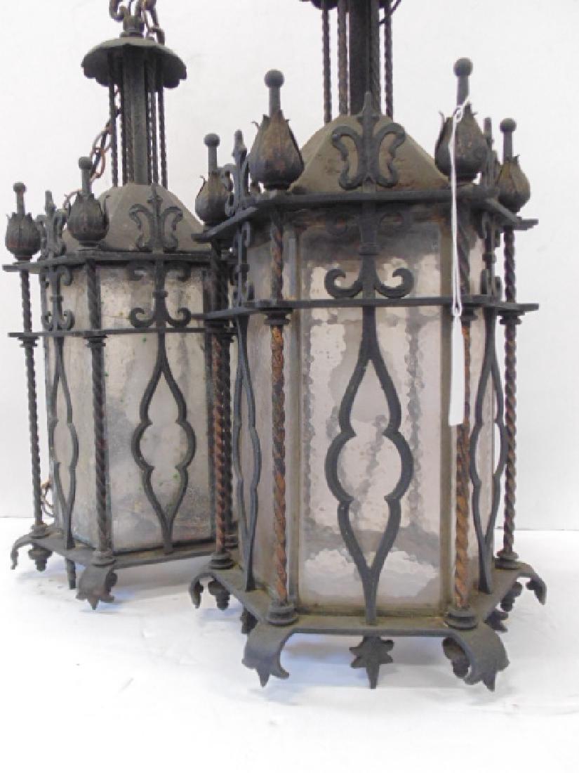 Pair iron lanterns, octagonal shaped - 2