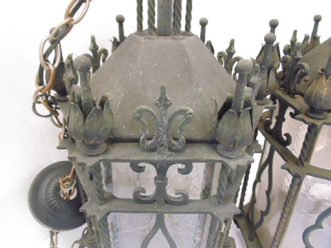 Pair iron lanterns, octagonal shaped - 3
