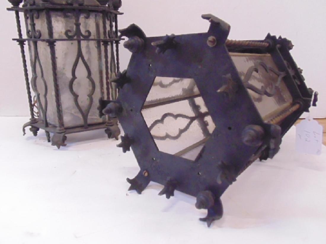 Pair iron lanterns, octagonal shaped - 5