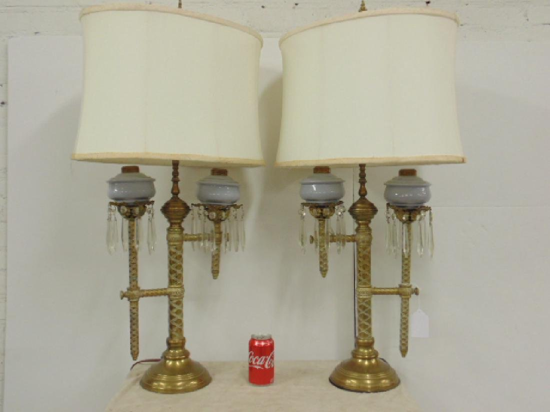 Pair brass adjustable Russian oil lamps