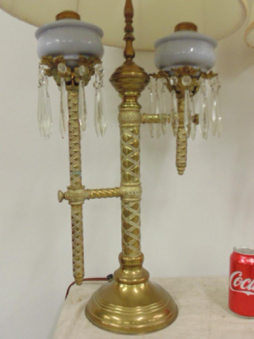 Pair brass adjustable Russian oil lamps - 2