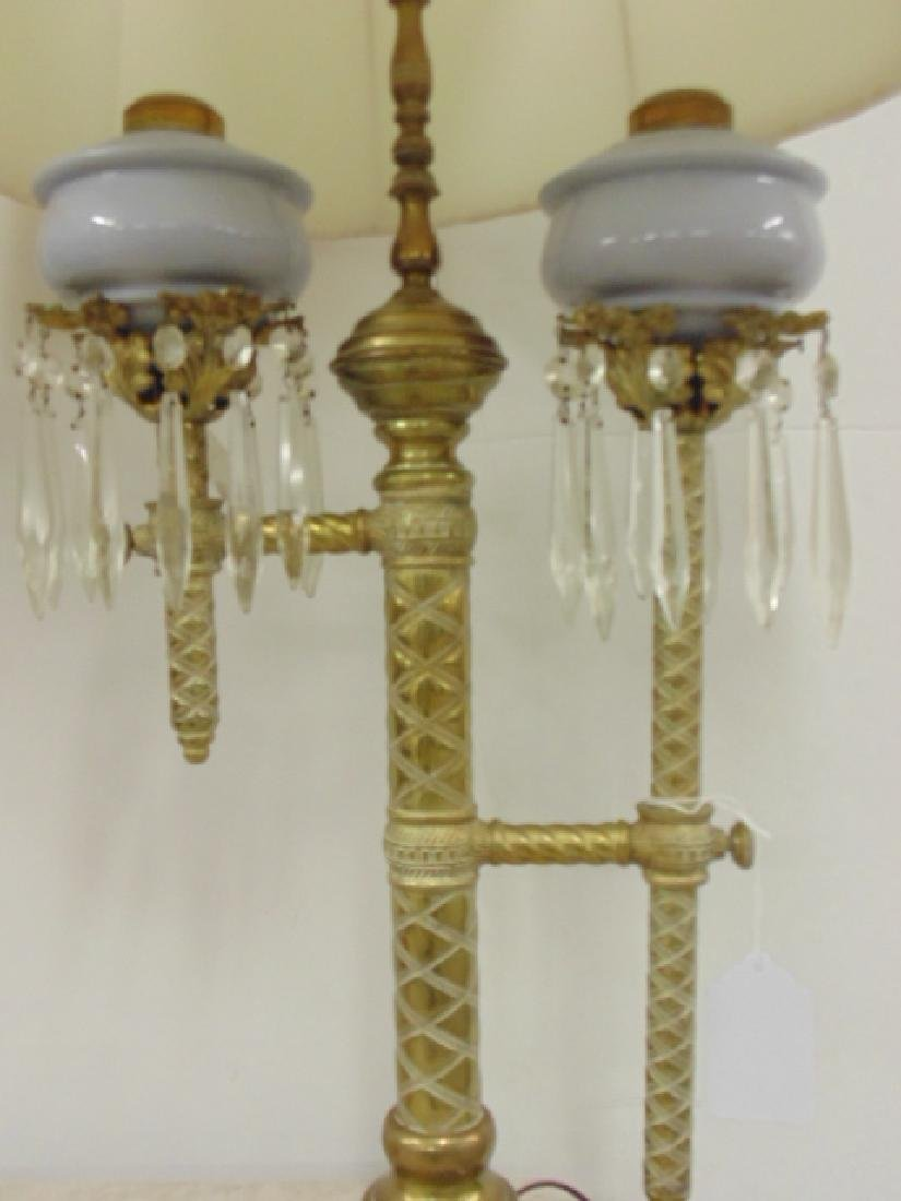 Pair brass adjustable Russian oil lamps - 3