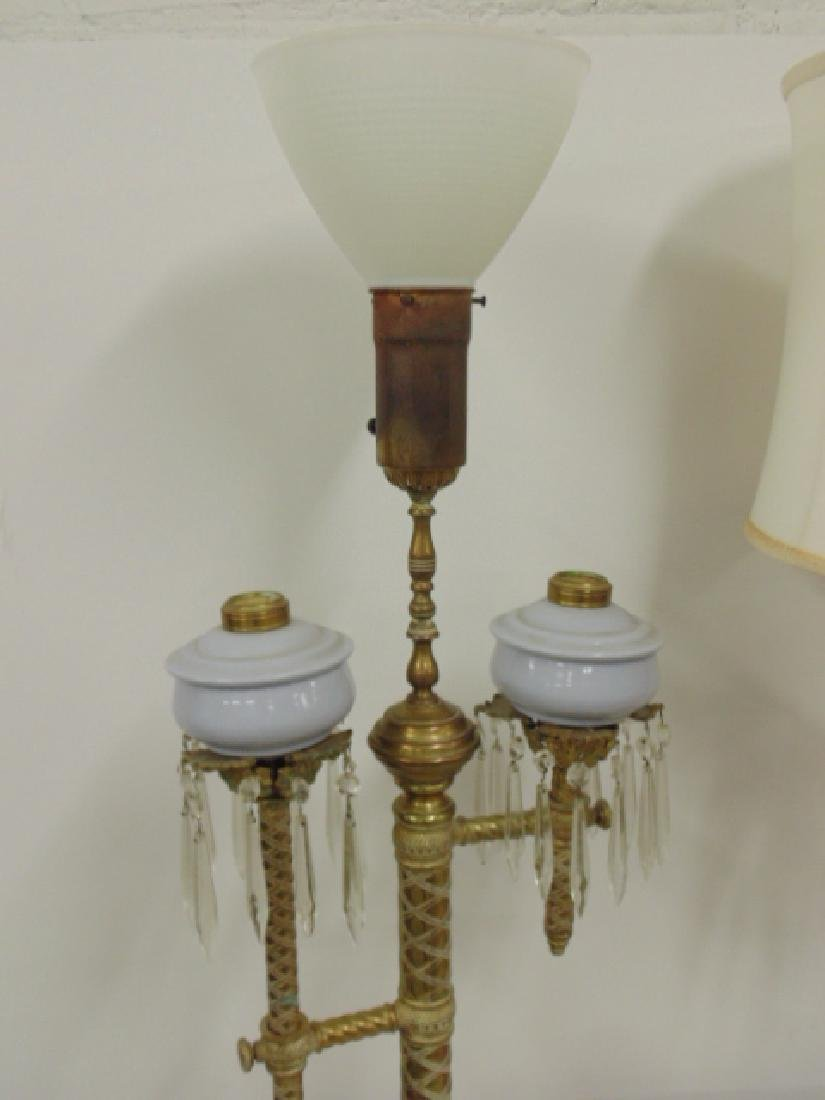 Pair brass adjustable Russian oil lamps - 4
