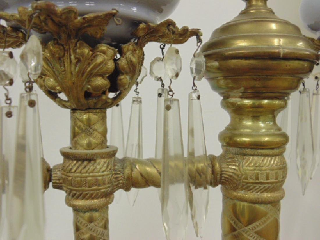 Pair brass adjustable Russian oil lamps - 6