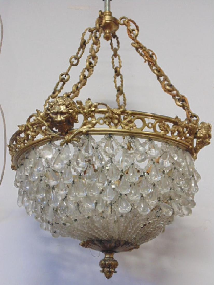 Bronze & crystal hanging dome