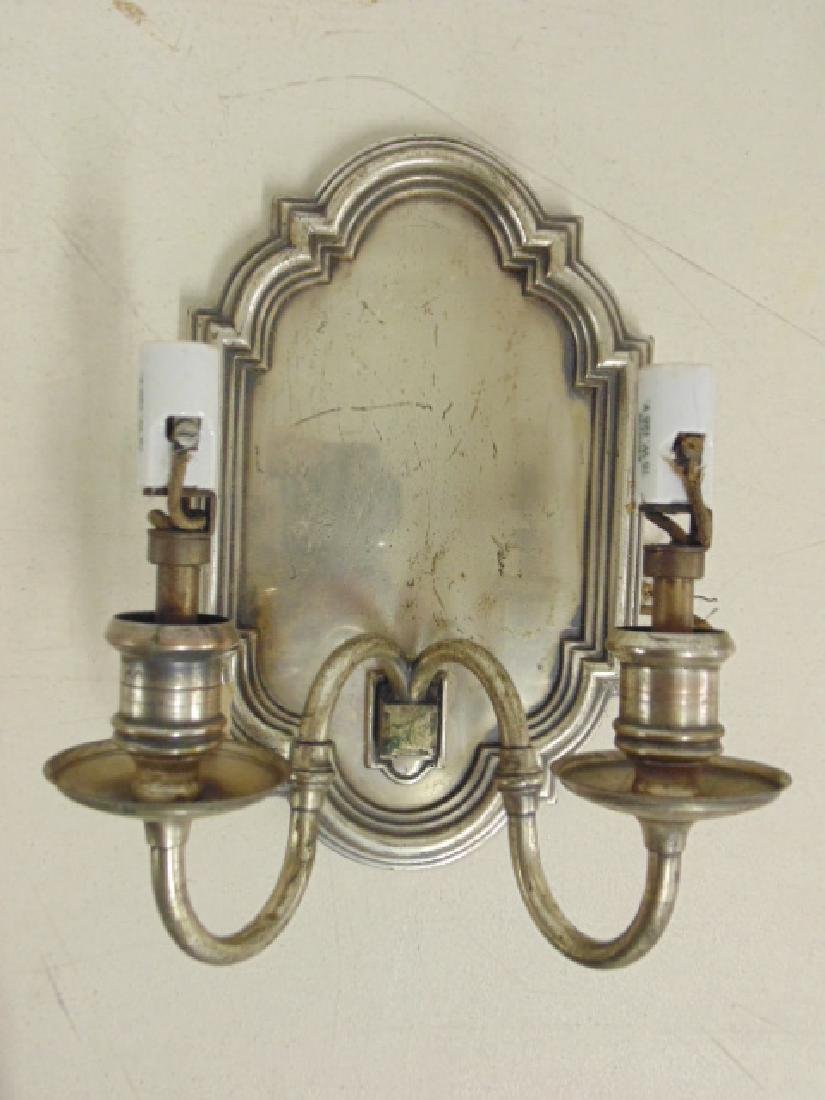 Lot 6 silver plated shield back wall sconces - 3