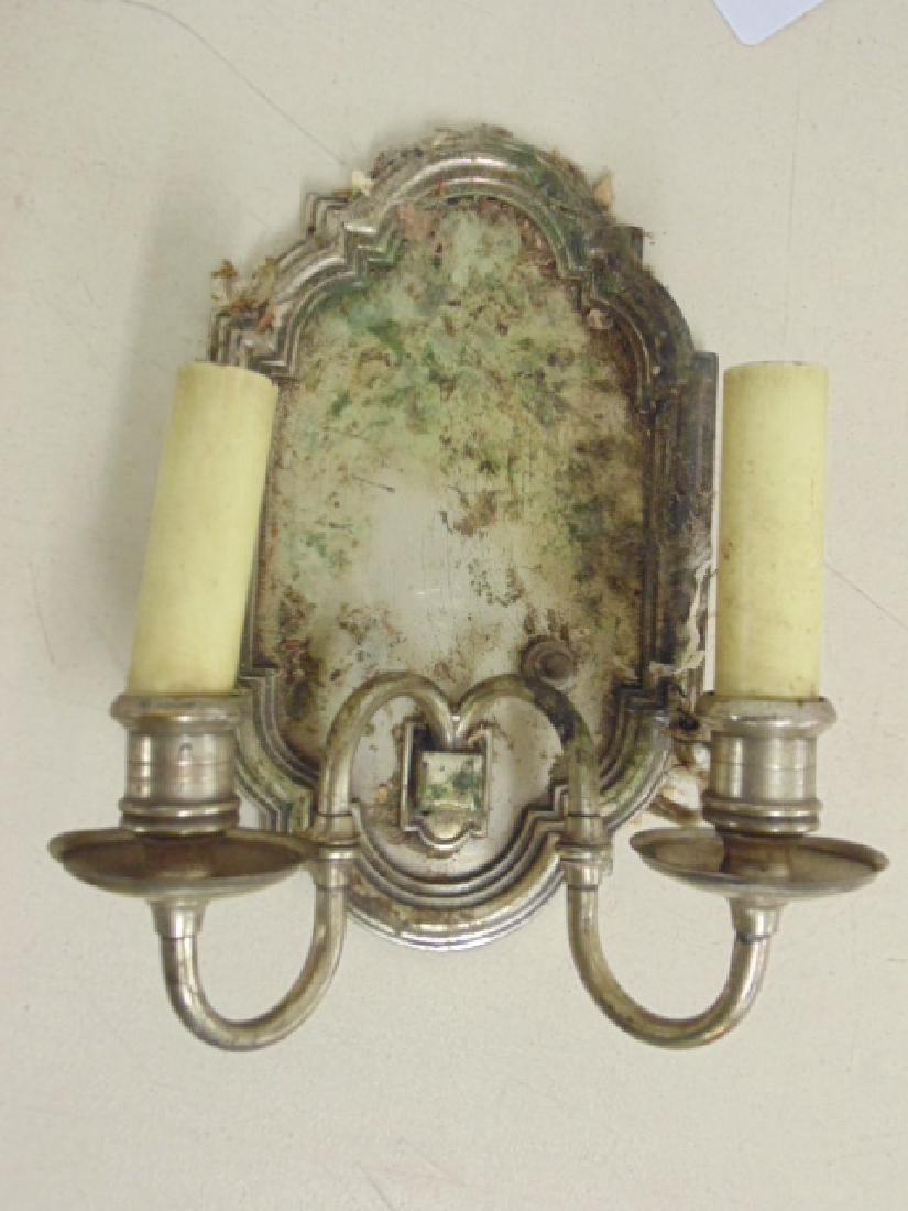 Lot 6 silver plated shield back wall sconces - 4
