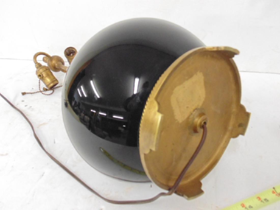 Black glass table lamp with gilt metal trim base - 4