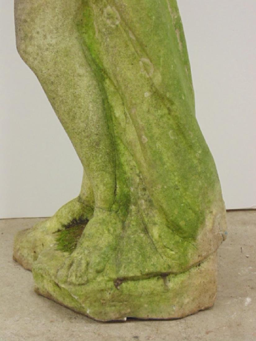 Carved marble statue, woman with fish - 3