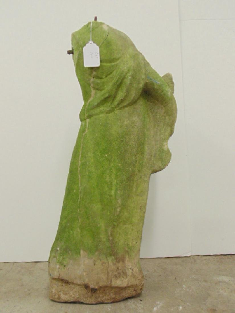 Carved marble statue, woman with fish - 5