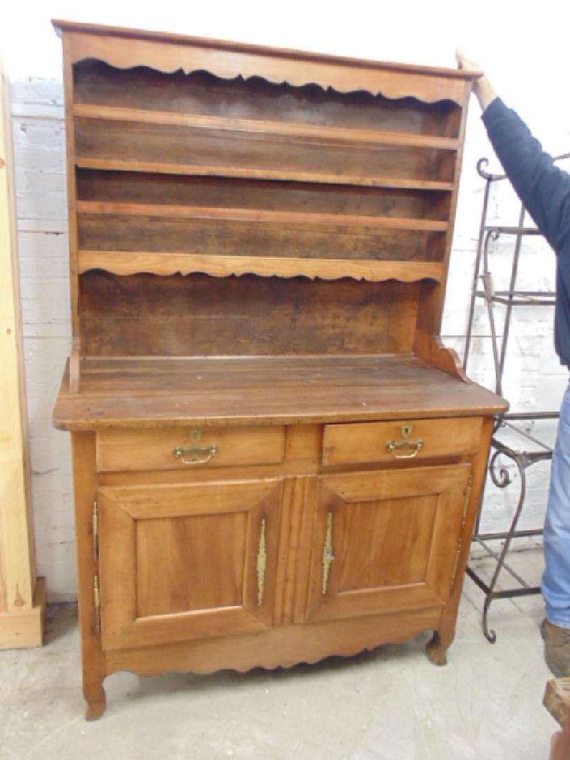 Antique French hutch, base cabinet with 2 drawers