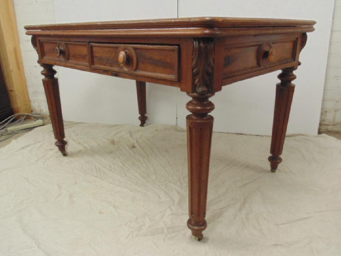 Victorian felt top partners desk - 3