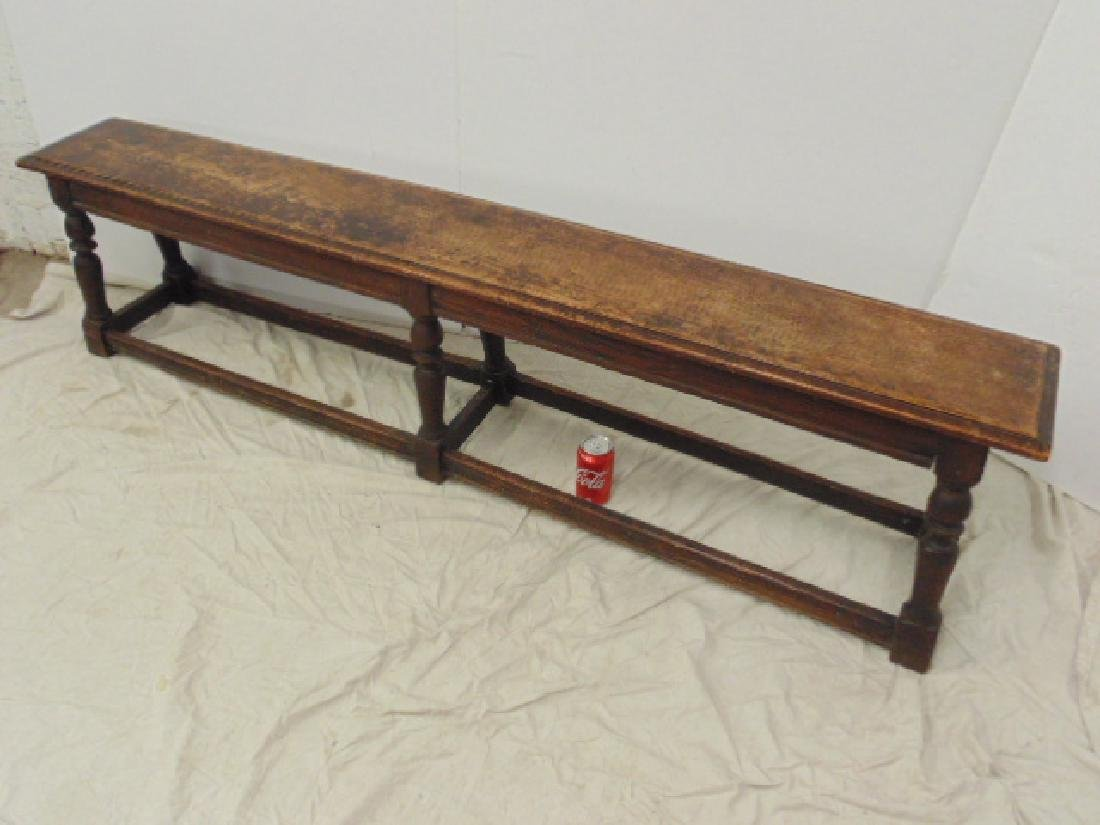 Long antique bench, stretcher base,  72""