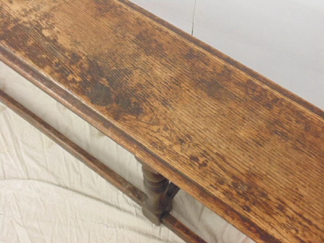 "Long antique bench, stretcher base,  72"" - 2"