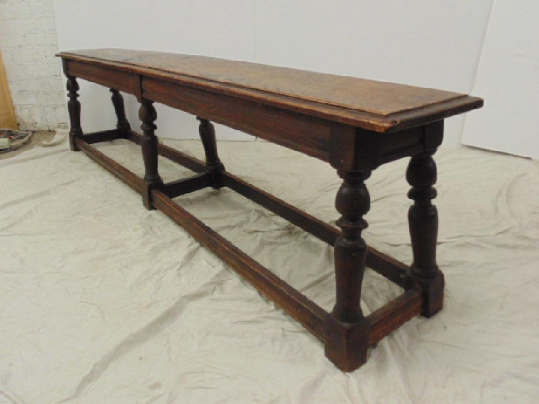 "Long antique bench, stretcher base,  72"" - 3"
