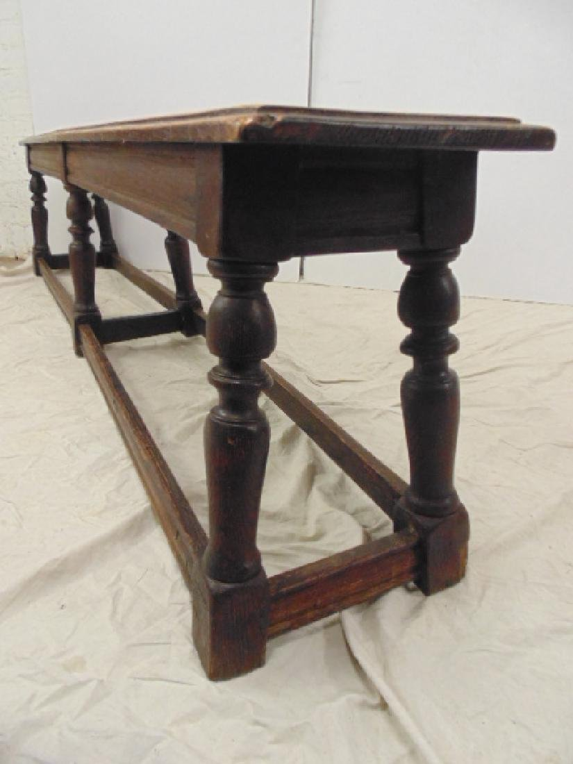 "Long antique bench, stretcher base,  72"" - 4"