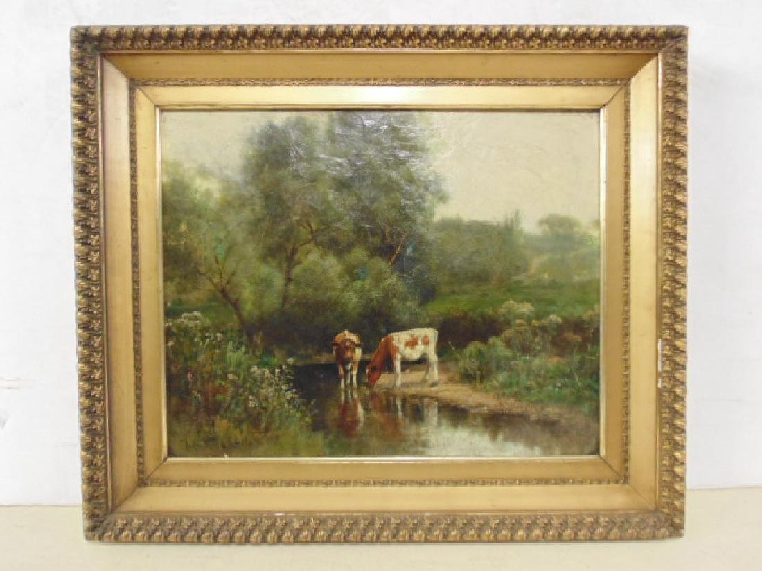 """Painting, """"Cows at a stream"""", signed Rufus Way Smith"""