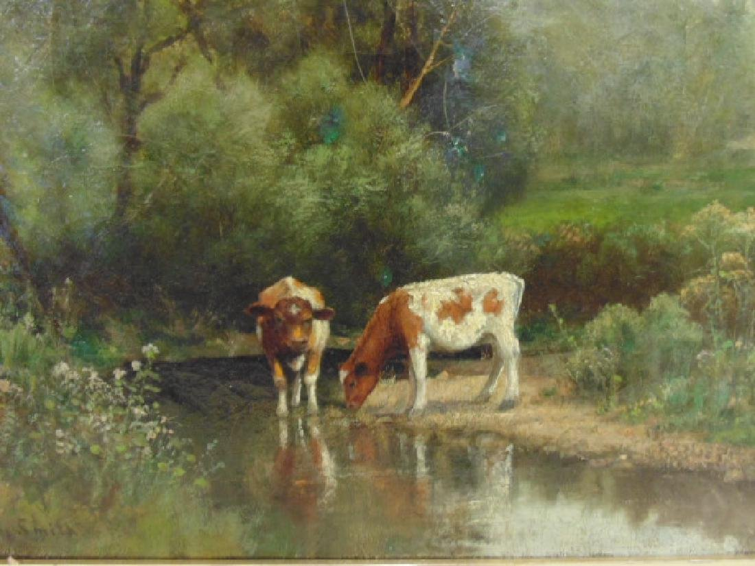 """Painting, """"Cows at a stream"""", signed Rufus Way Smith - 2"""