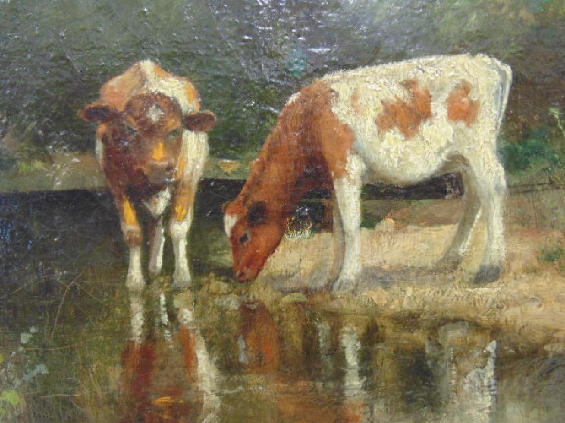 """Painting, """"Cows at a stream"""", signed Rufus Way Smith - 3"""