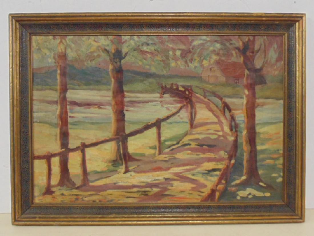 Painting, path, bridge over stream,  Sarney, 1933