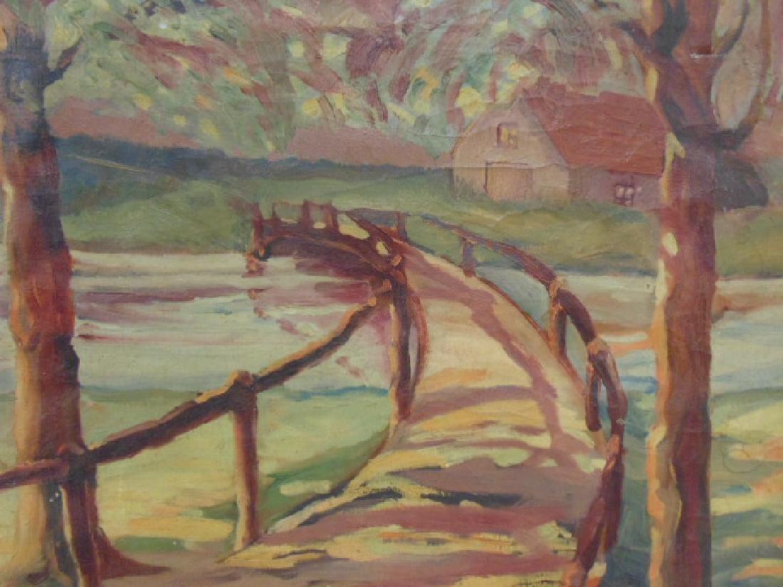Painting, path, bridge over stream,  Sarney, 1933 - 2