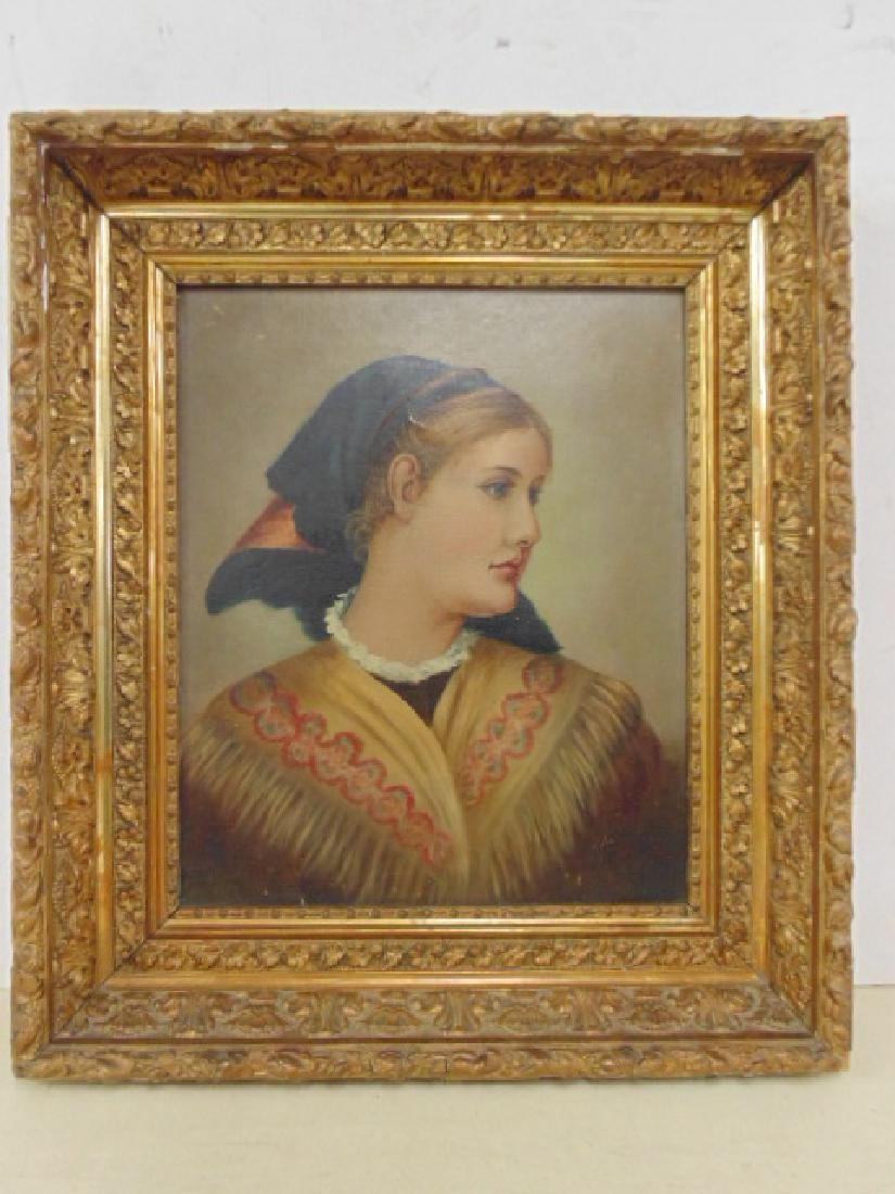 Painting, portrait of a woman with scarf, unsigned