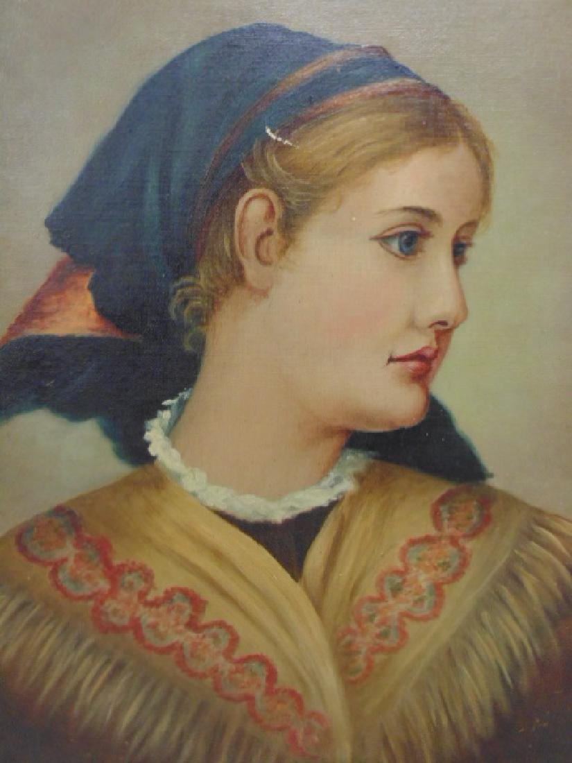 Painting, portrait of a woman with scarf, unsigned - 2