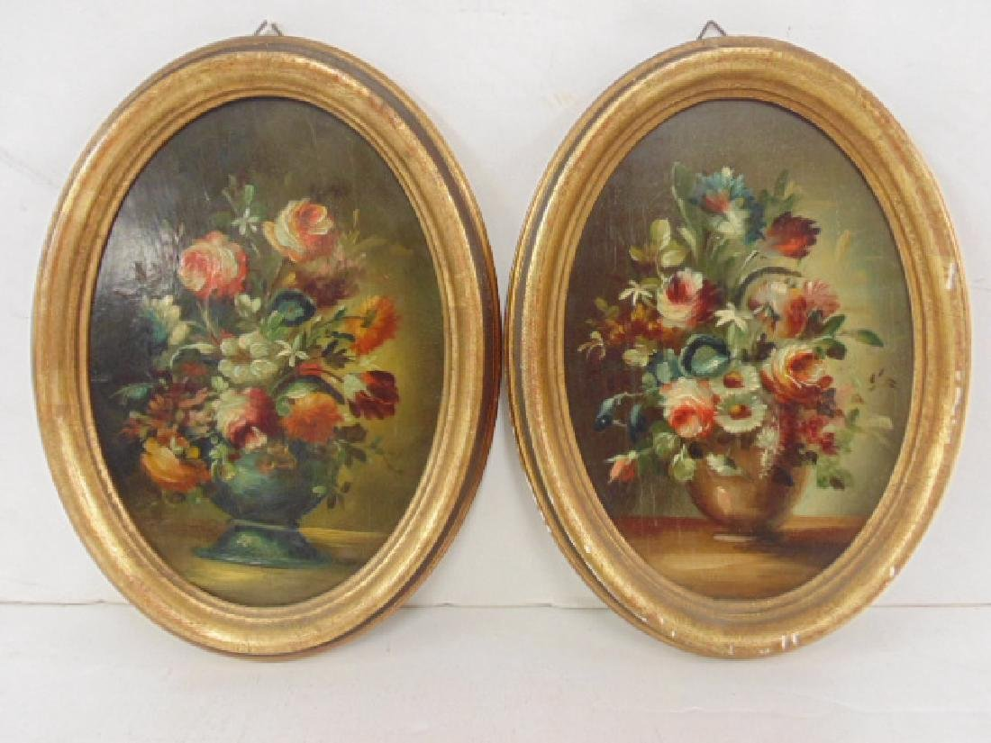 Pair small oval paintings, floral still lifes