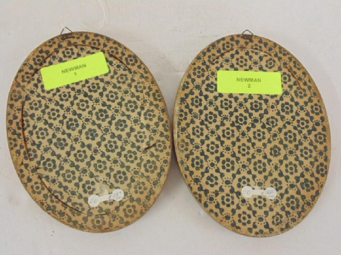 Pair small oval paintings, floral still lifes - 4