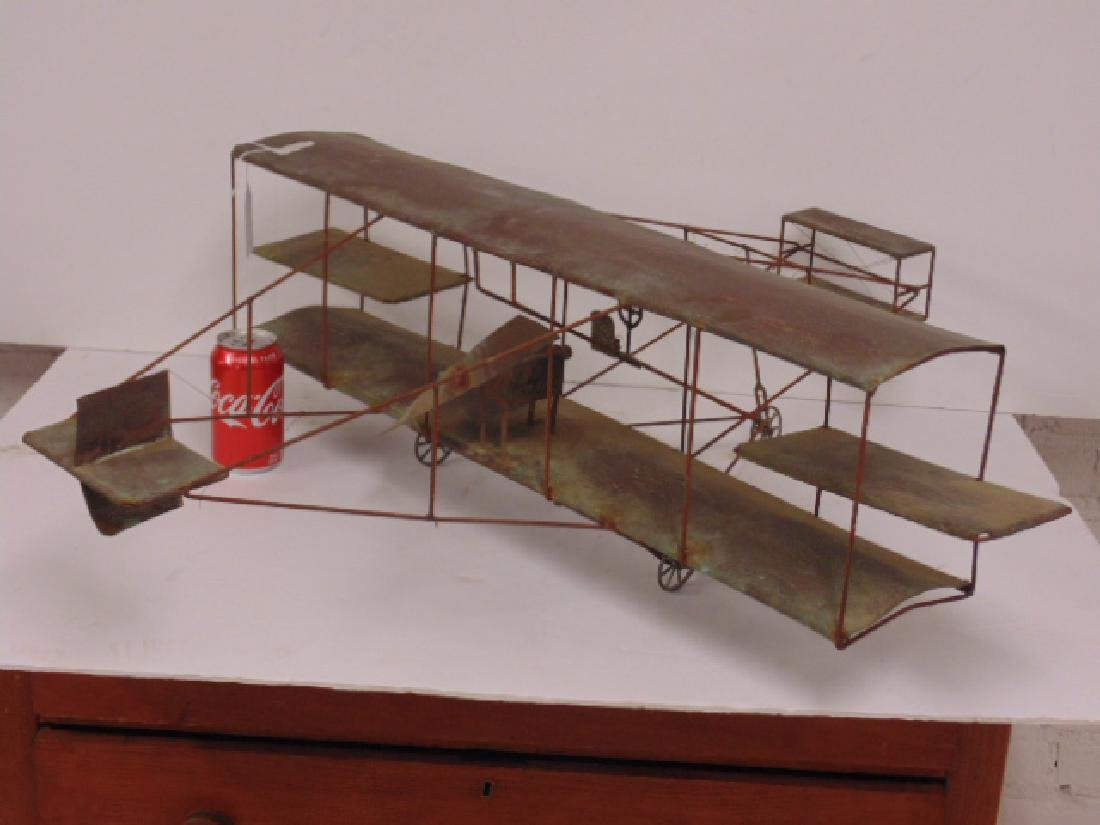 Copper & metal framed early model biplane
