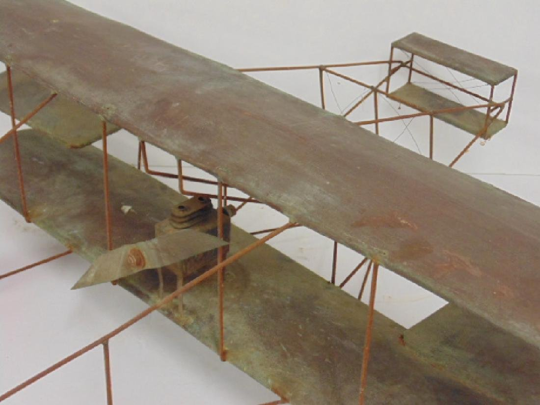 Copper & metal framed early model biplane - 2
