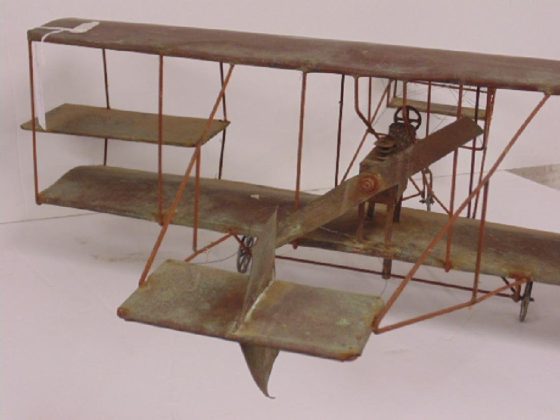 Copper & metal framed early model biplane - 3