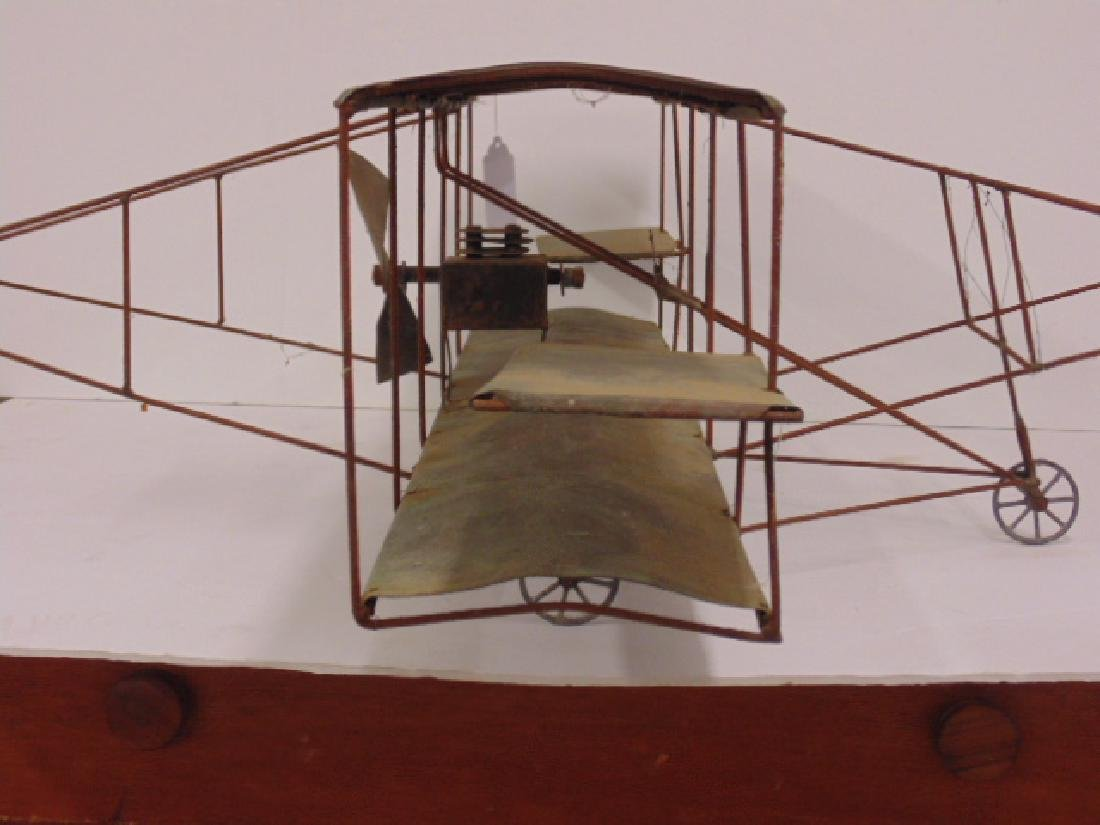 Copper & metal framed early model biplane - 4