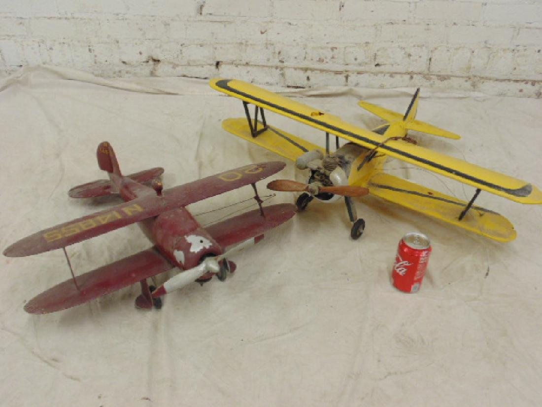 2 model airplanes,  biplane with engine