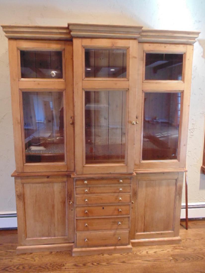 2 piece pine breakfront, triple glass door