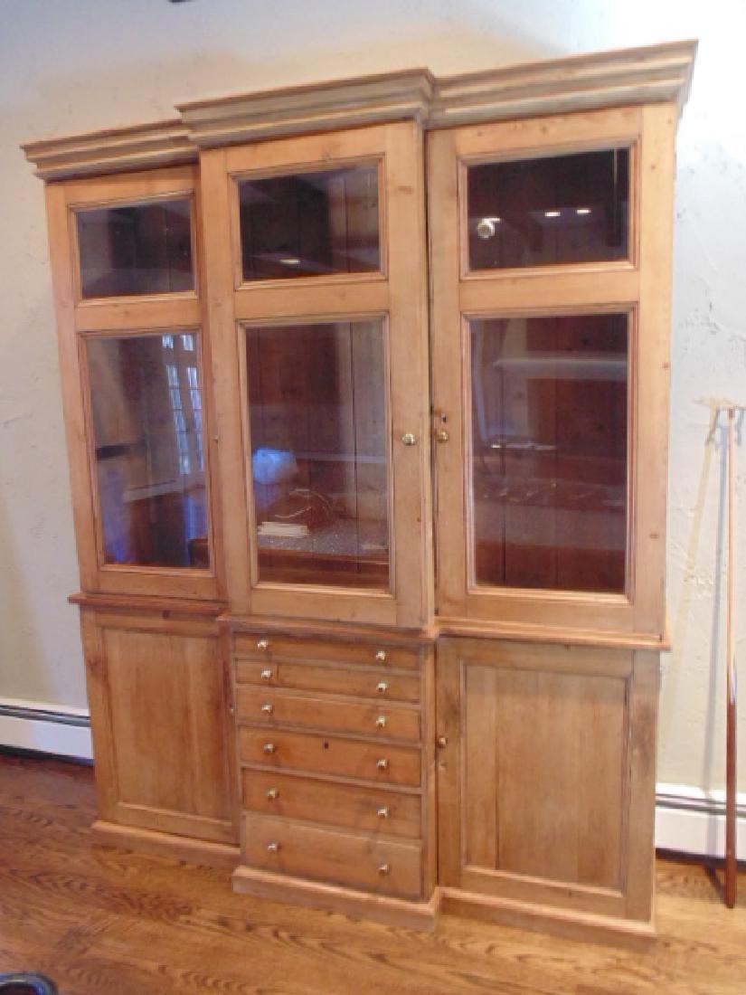 2 piece pine breakfront, triple glass door - 2