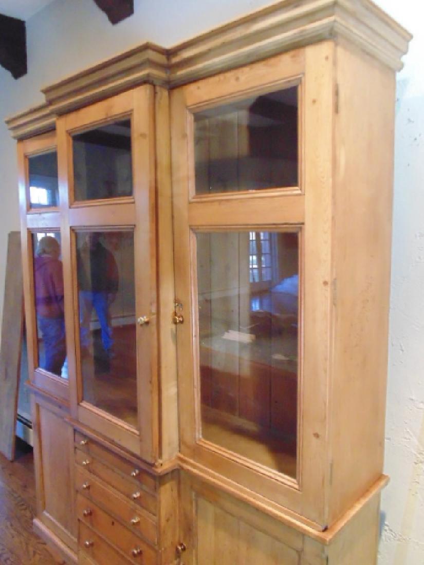 2 piece pine breakfront, triple glass door - 5