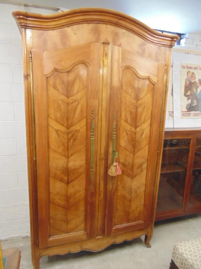 French armoire, double door, veneer paneled - 2