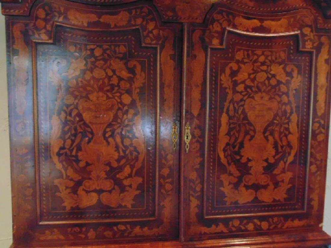 Dutch marquetry inlaid cabinet, bombe base - 4