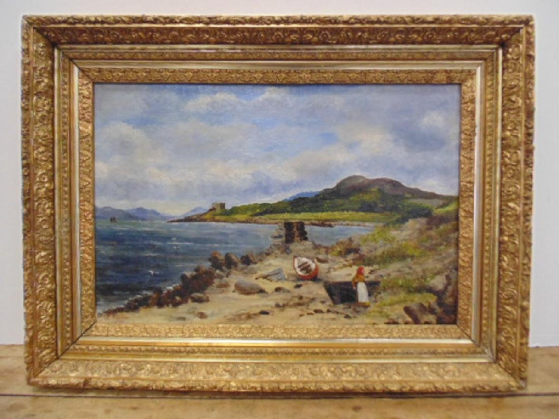 Oil canvas, figure on beach,  L. Greatorex