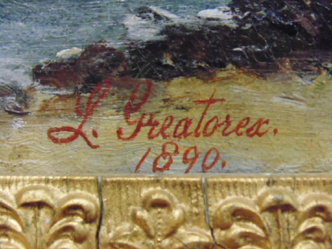 Oil canvas, figure on beach,  L. Greatorex - 2