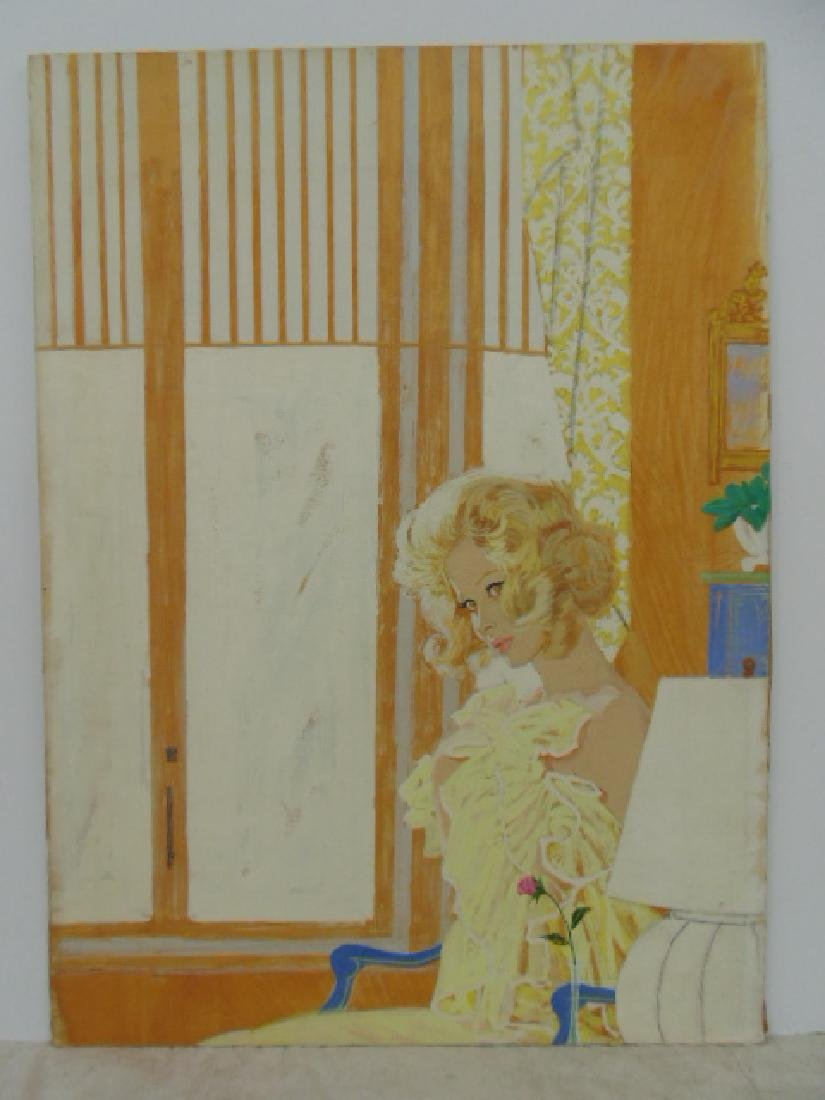 Illustration, estate of Darrel Greene, girl in negligee