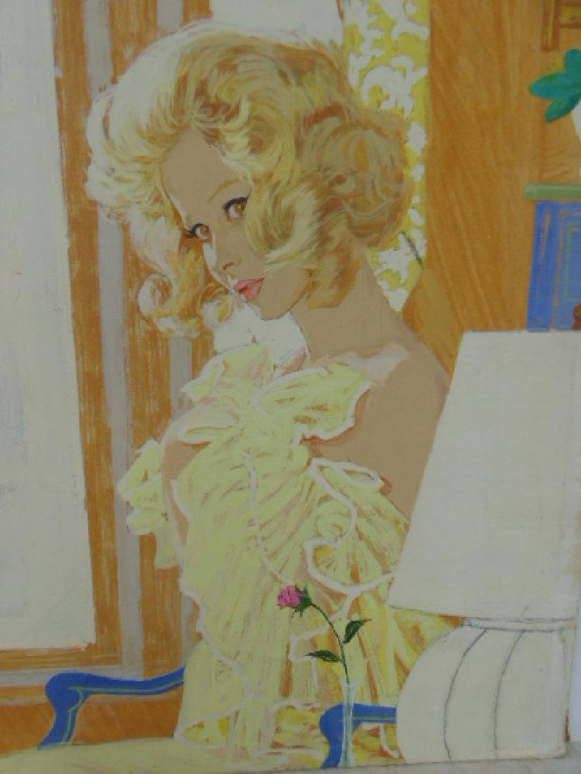Illustration, estate of Darrel Greene, girl in negligee - 2