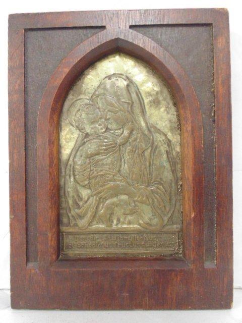 Oak framed copper clad Icon, plaster backing