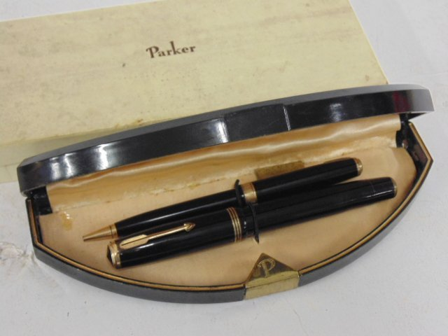 Vintage pen set, Parker Vacumatic, original case